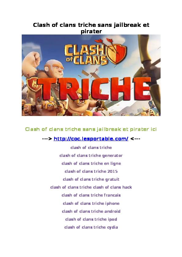 DOC) Clash of clans triche sans jailbreak et pirater | Lucas