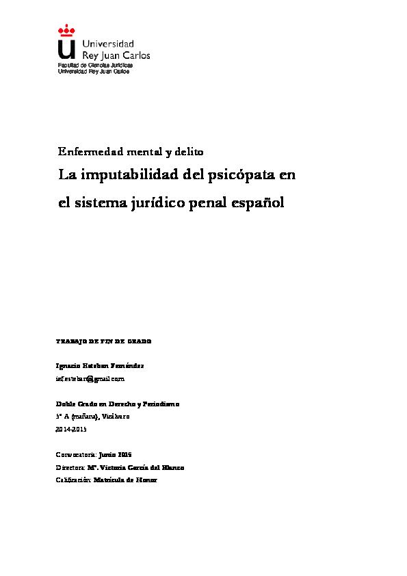 PDF) Enfermedad mental y delito: La imputabilidad del psicópata en el  sistema jurídico penal español | Nacho Esteban - Academia.edu