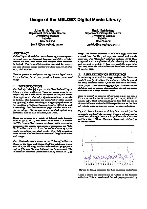 PDF) Usage of the MELDEX Digital Music Library | David