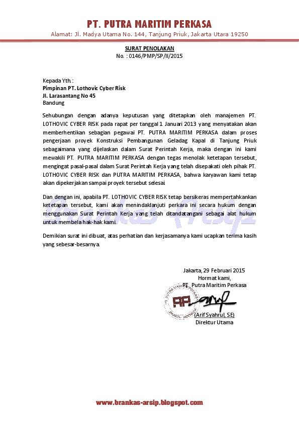 Pdf Contoh Surat Penolakan Penolakan Abdullah Luthfi