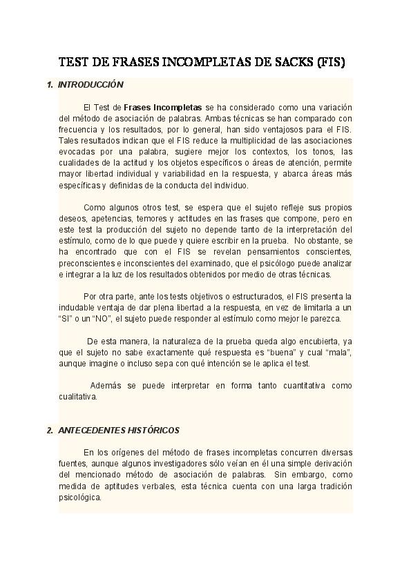Doc Test De Frases Incompletas De Sacks Fis Irma Areli