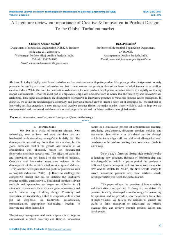 Pdf A Literature Review On Importance Of Creative Innovation In Product Design To The Global Turbulent Market G Prasanthi And Chandra Sekhar Macha Academia Edu