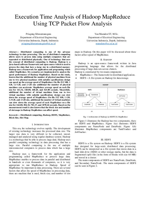 PDF) Execution Time Analysis of Hadoop MapReduce Using TCP