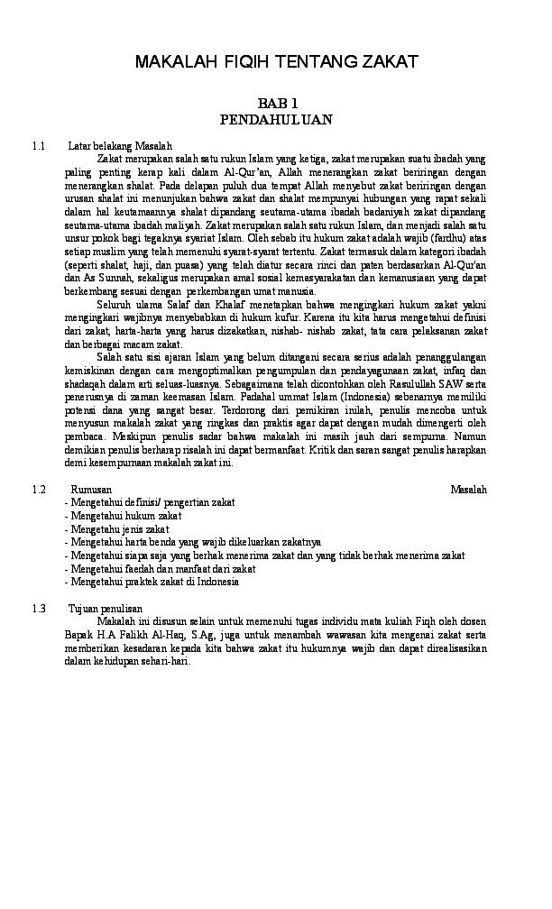 Doc Makalah Fiqih Tentang Zakat Arif Firman Academia Edu