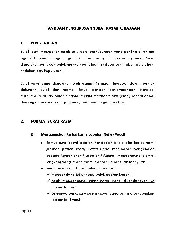 Format Surat Rasmi Kepada Perdana Menteri Gapura P