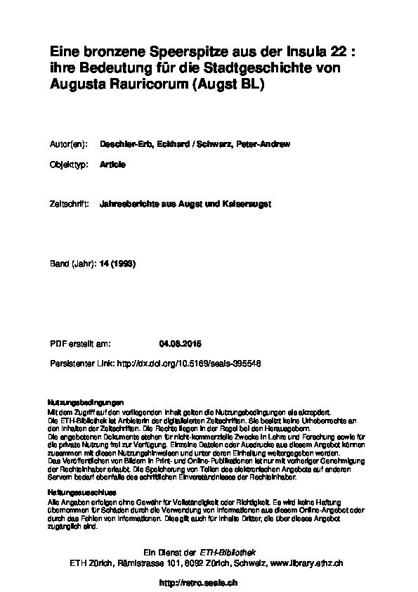 bb6ad40c178525 PDF) Eine bronzene Speerspitze aus der Insula 22  Ihre Bedeutung für ...