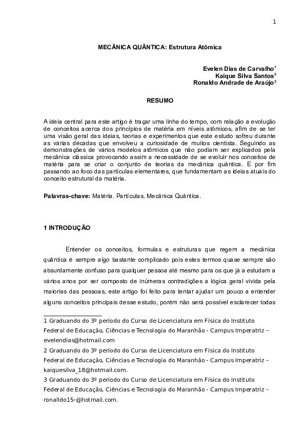 Doc Mecânica Quântica Estrutura Atômica Evelen Dias De