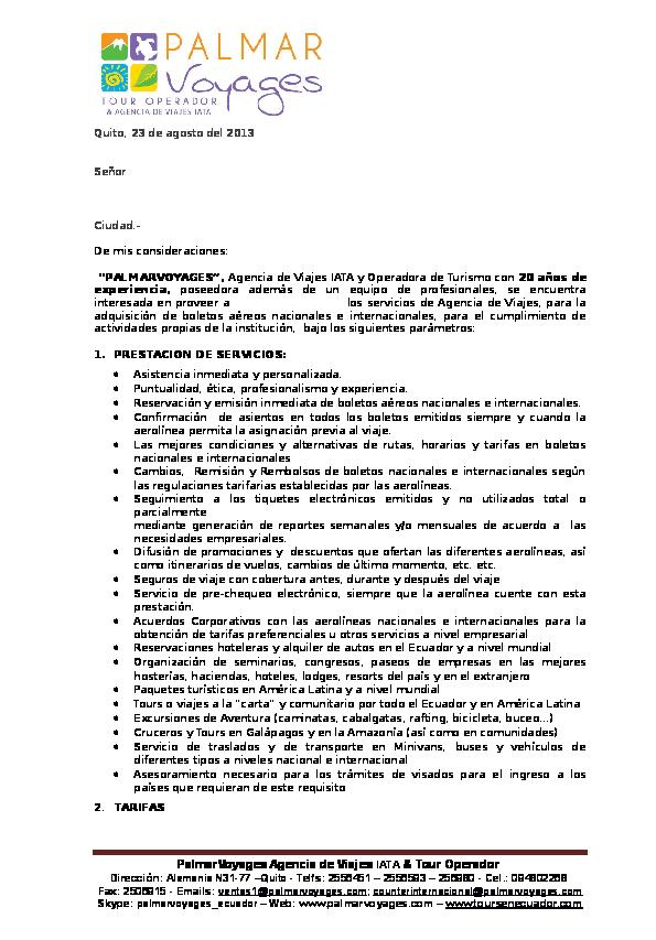 Doc Carta Modelo Presentacion De Servicios Palmarvoyages