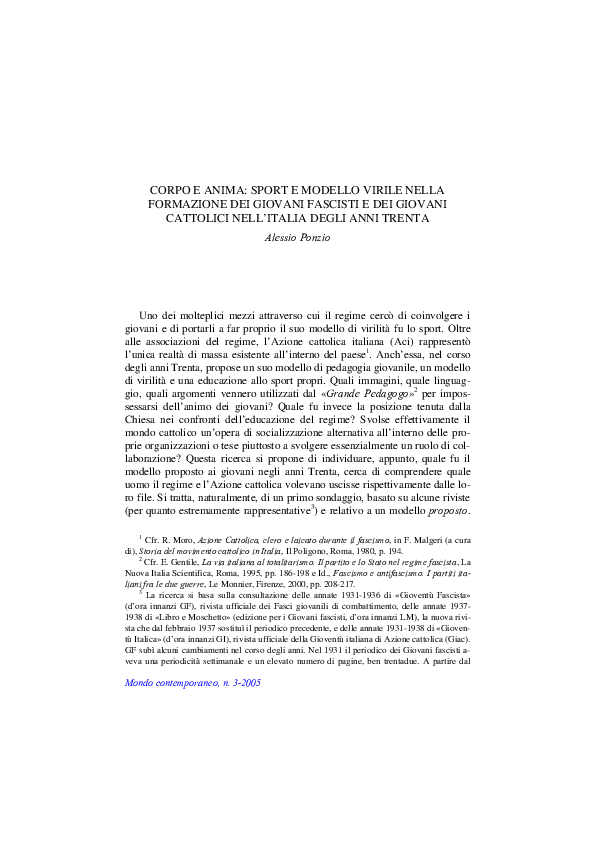 PDF) CORPO E ANIMA  SPORT E MODELLO VIRILE NELLA FORMAZIONE DEI ... 746d333ca45b