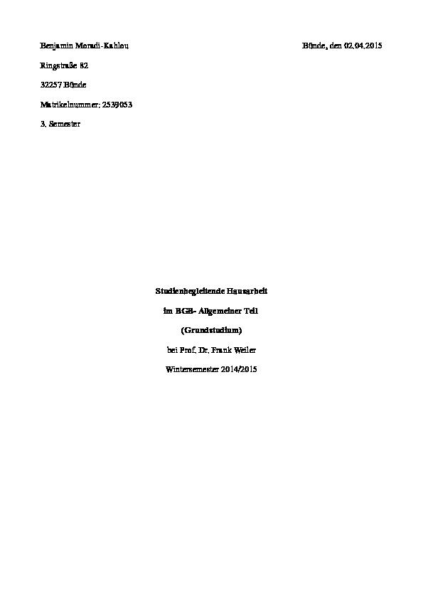 Hausarbeit 812 bgb heinrich frey maschinenbau gmbh