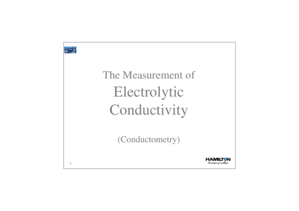 PDF) The Measurement of Electrolytic Conductivity