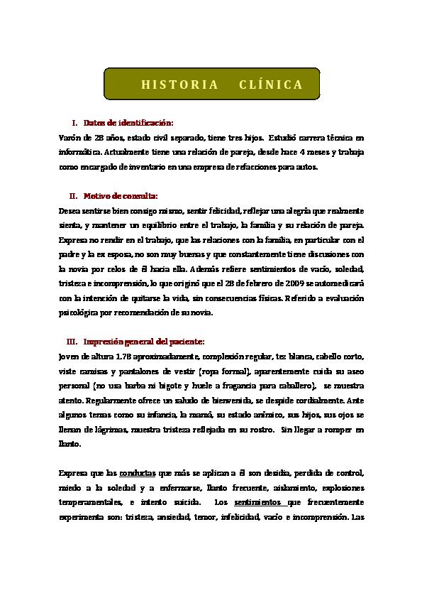 Ejemplo De Motivo De Consulta En Psicologia Ejemplo Sencillo