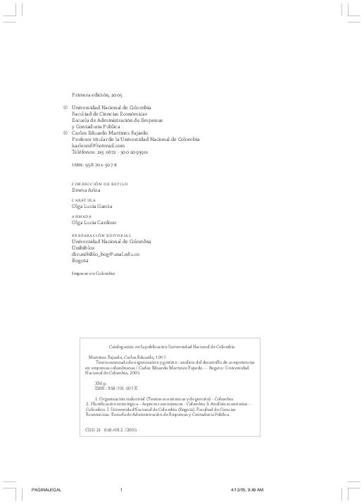 Pdf Teoría Avanzada De La Organización Y Gestión Análisis