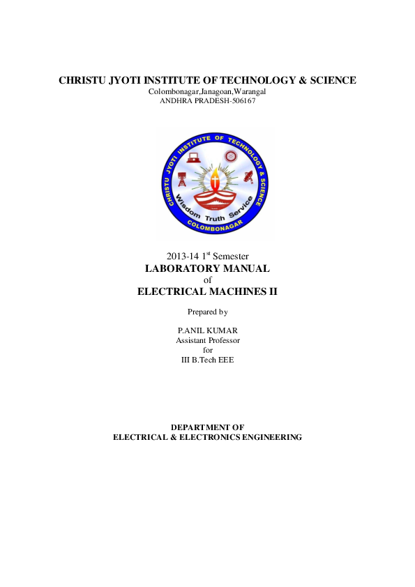 PDF) LABORATORY MANUAL of ELECTRICAL MACHINES II | Mukesh