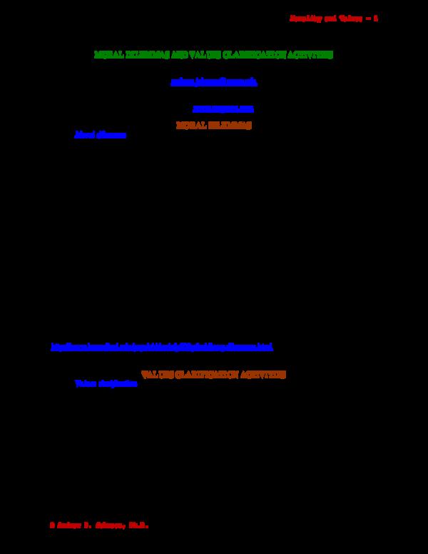 PDF) MORAL DILEMMAS AND VALUES CLARIFICATION ACTIVITIES
