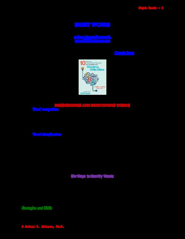 PDF) SIGHT WORD INSTRUCTION FOR READING   Andrew Johnson