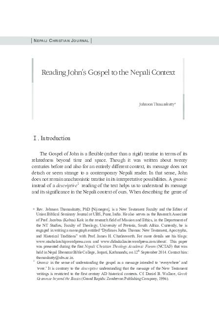 PDF) Reading John to Nepali Context | Johnson Thomaskutty