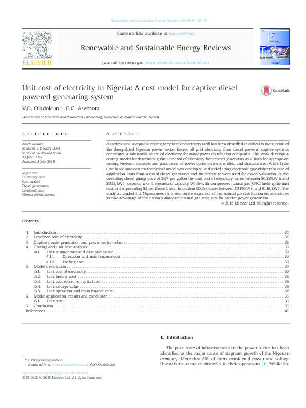 PDF) Unit cost of electricity in Nigeria: A cost model for captive