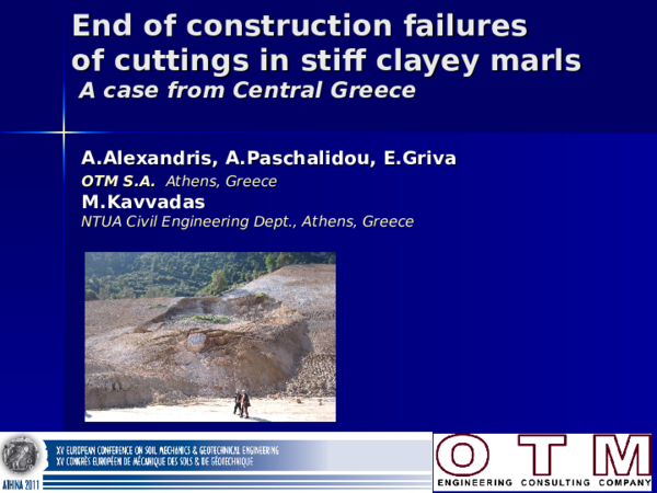 PPT) End of Construction failures of cuttings in stiff