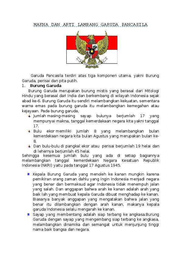 Doc Makna Dan Arti Lambang Garuda Pancasila Natasya Anugraheni