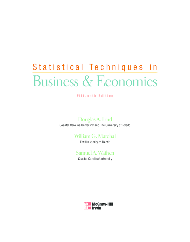statistical techniques in business and economics mcgrawhillirwin series operations and decision sciences