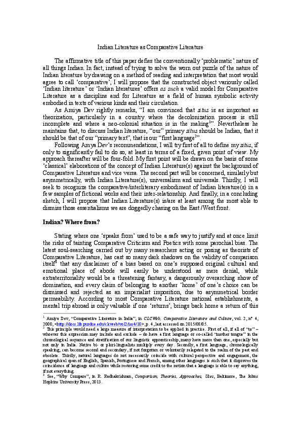 Indian Literature As Comparative Literature Preprint Didier