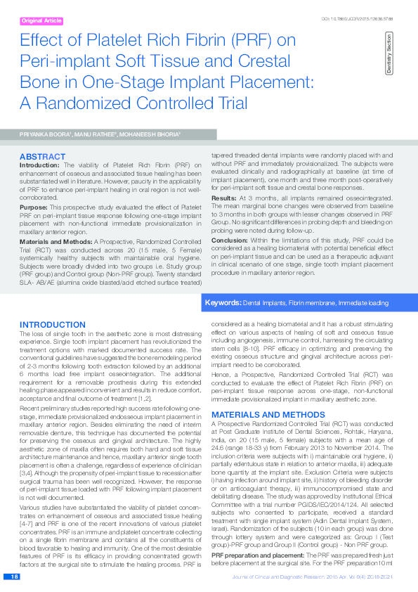 Pdf Effect Of Platelet Rich Fibrin Prf On Peri Implant Soft Tissue And Crestal Bone In One Stage Implant Placement A Randomized Controlled Trial Dr Mohaneesh Bhoria And Prof Dr Manu Rathee