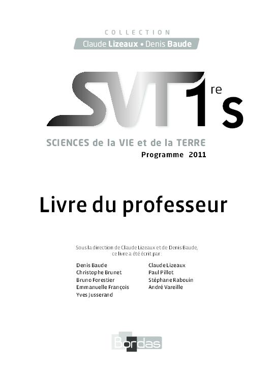 Pdf Livre Du Professeur Sciences De La Vie Et De La Terre