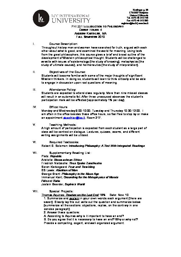 DOC) PHI 210 Introduction to Philosophy | Andrew T J Kaethler