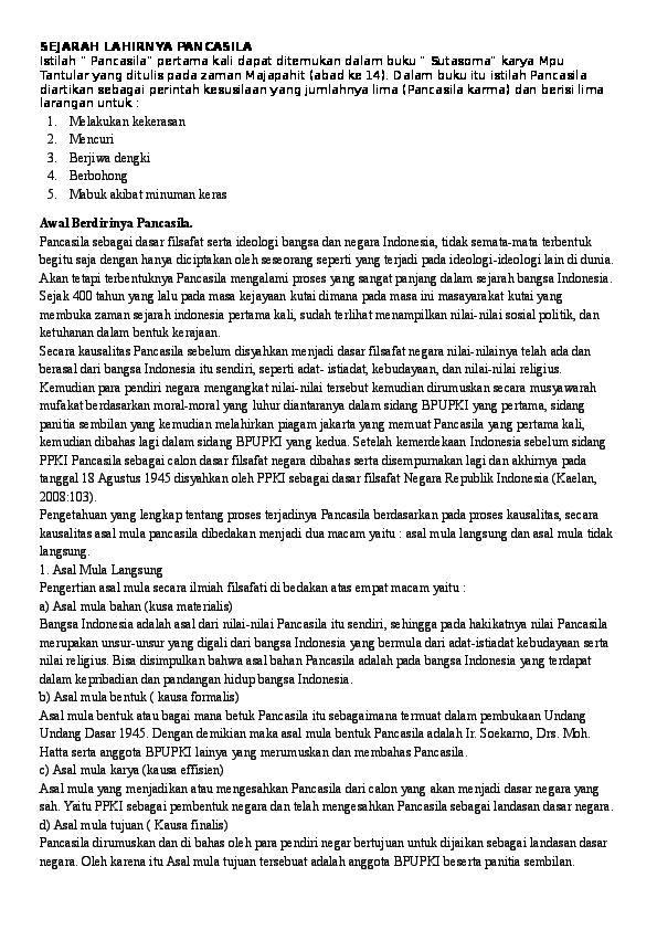 Doc Sejarah Lahirnya Pancasila Nadia Anwar Academia Edu