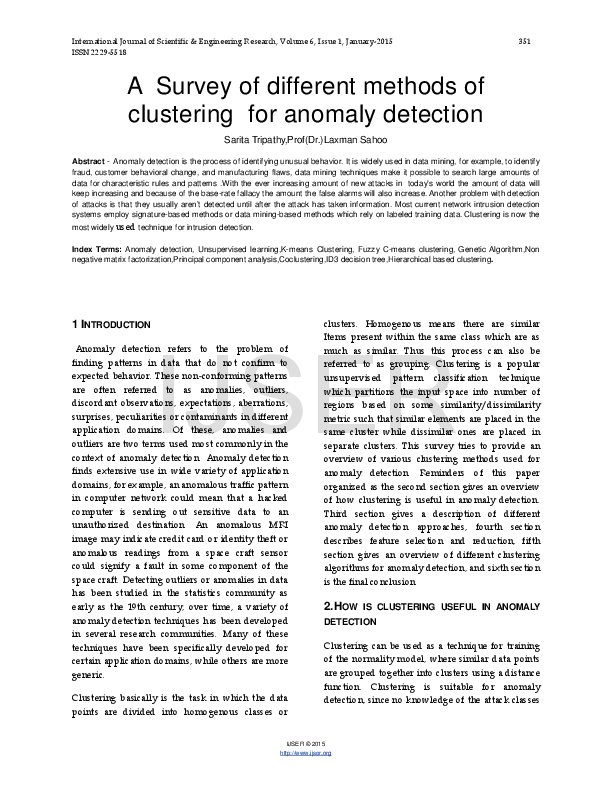 PDF) A Survey of different methods of clustering for anomaly