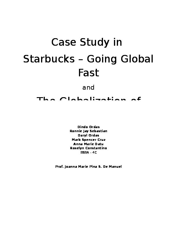 starbucks going global fast case study