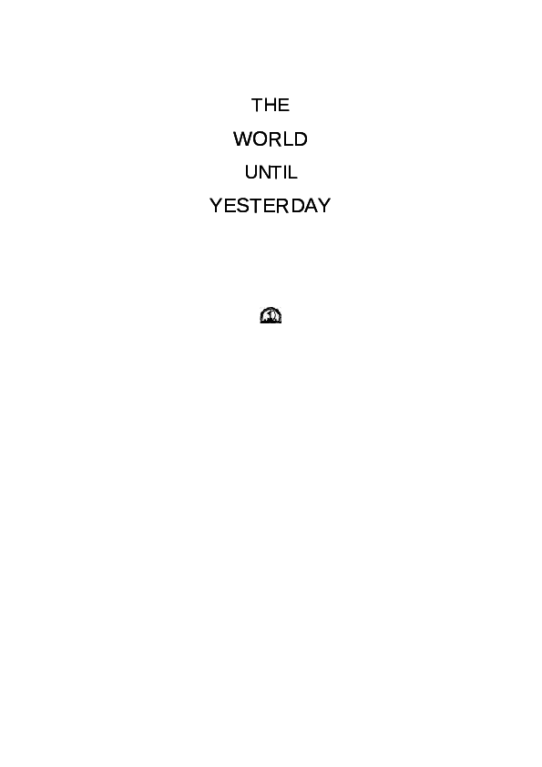 Pdf The World Until Yesterday Roma Tasl Academia Edu