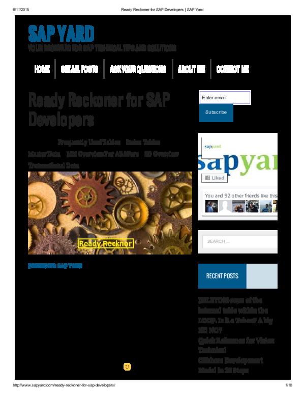 PDF) Ready Reckoner for SAP Developers | Raju Shrestha