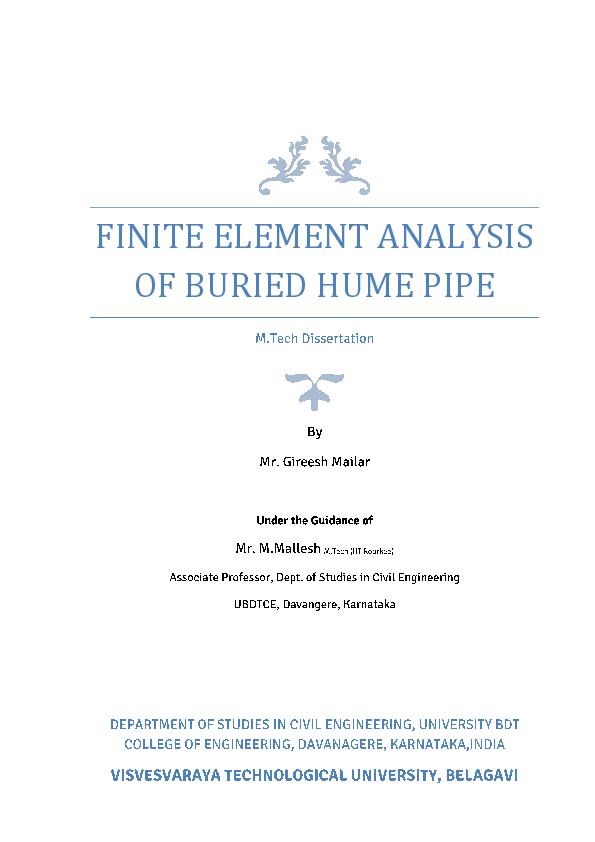 PDF) FINITE ELEMENT ANALYSIS OF BURIED HUME PIPE | GIREESH