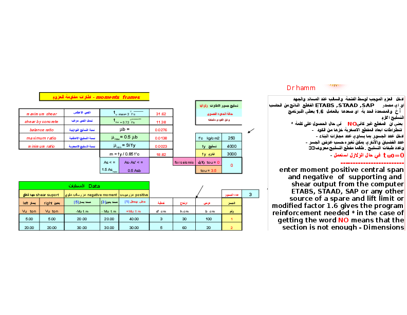 design beams frame - sheet Excel- تصميم كمرات اطار مقاوم للعزوم
