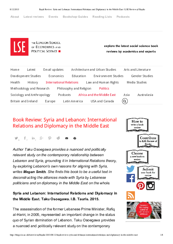 PDF) Book Review: Syria and Lebanon: International Relations and