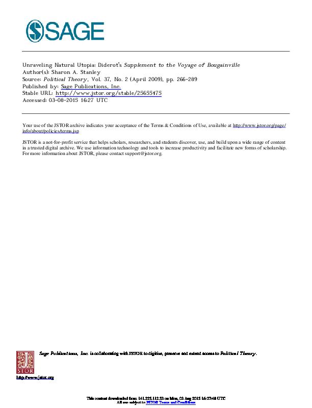 introduction dissertation supplément au voyage de bougainville