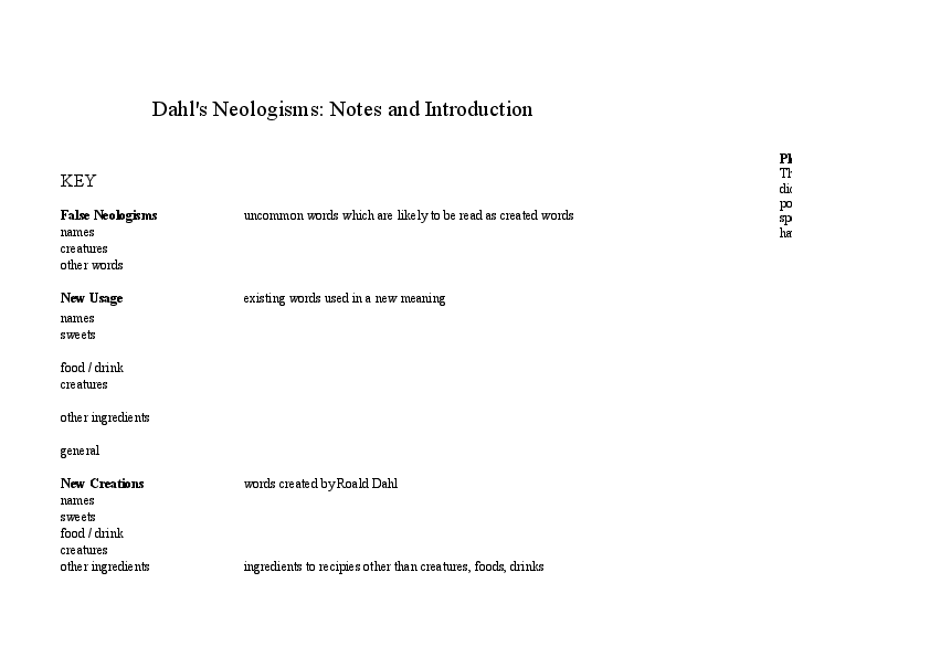 XLS) Dahl's Neologisms Data | Dominic Cheetham - Academia edu