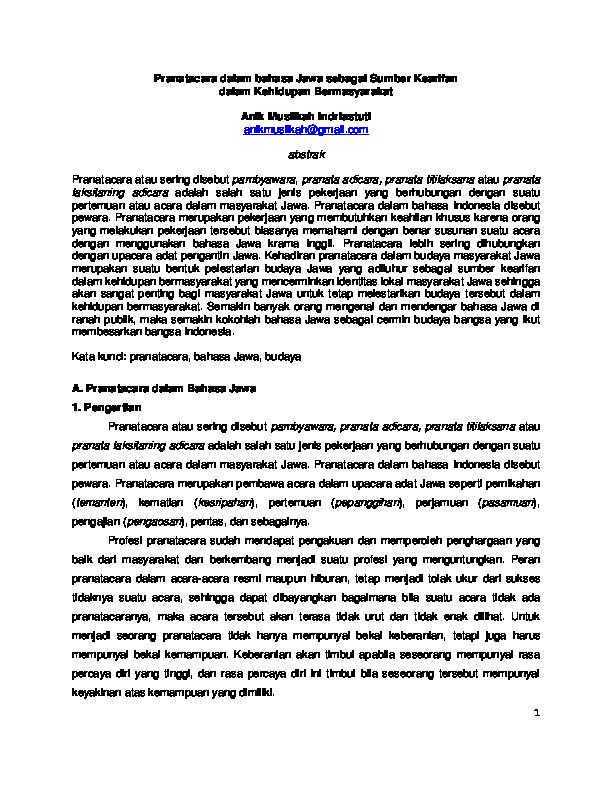 Pdf Pranatacara Dalam Bahasa Jawa Sebagai Sumber Kearifan Anik Muslikah Indriastuti Academia Edu