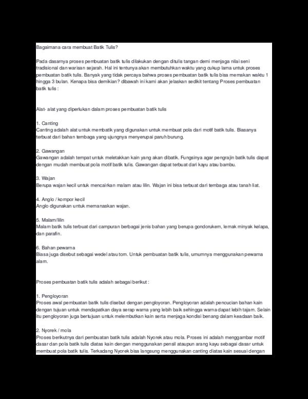 Doc Bagaimana Cara Membuat Batik Tulis Alviana Nur Islami Academia Edu
