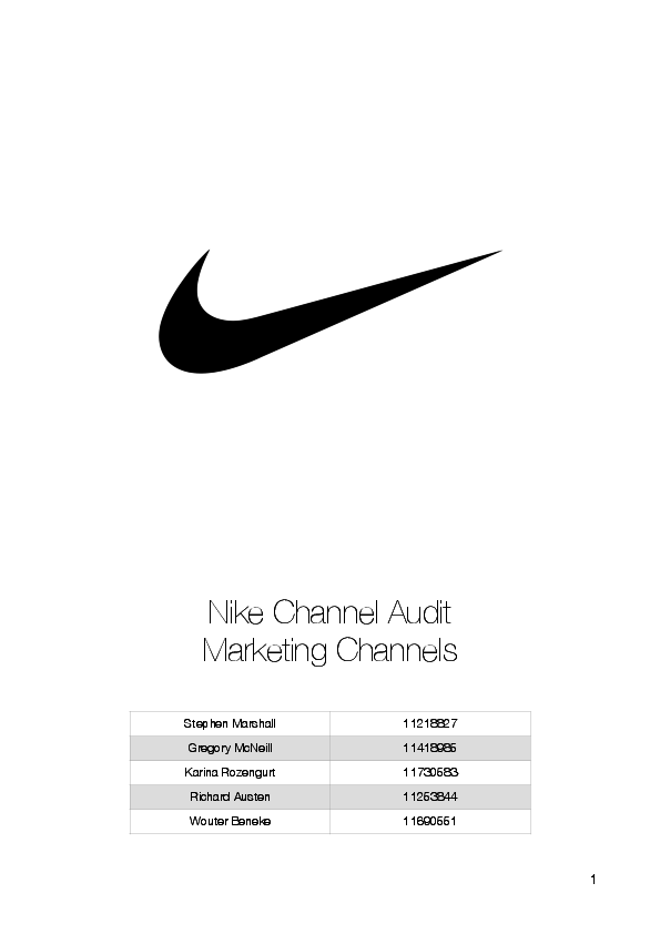 Pdf Nike Channel Audit Marketing Channels Wouter Beneke Academia Edu