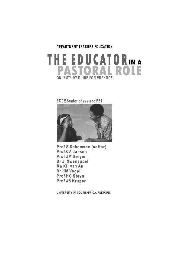 PDF) A THEORETICAL FRAMEWORK LEARNING UNIT 1 THE PASTORAL