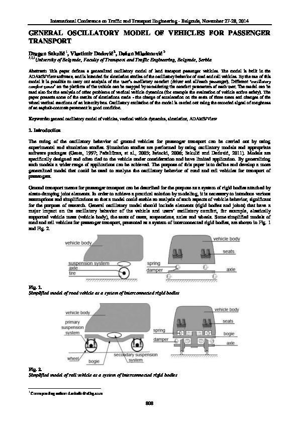 PDF) GENERAL OSCILLATORY MODEL OF VEHICLES FOR PASSENGER