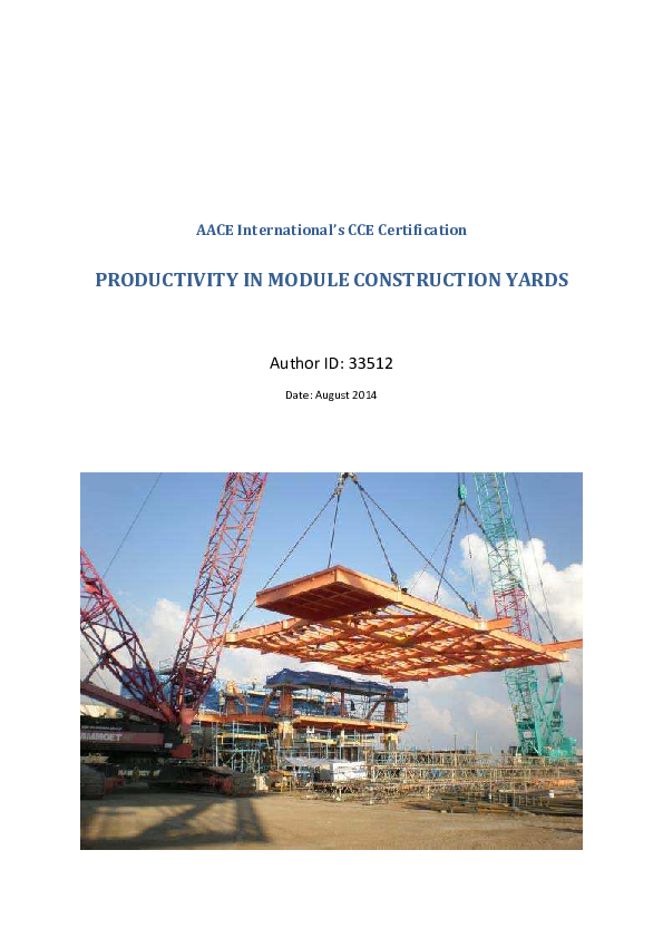 PDF) AACE International's CCE Certification PRODUCTIVITY IN