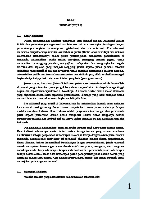 Pdf Akuntansi Sektor Publik Peran Akuntansi Sektor Publik Di Era Desentralisasiotonomi Daerah D3 Akuntansi Ak Academia Edu