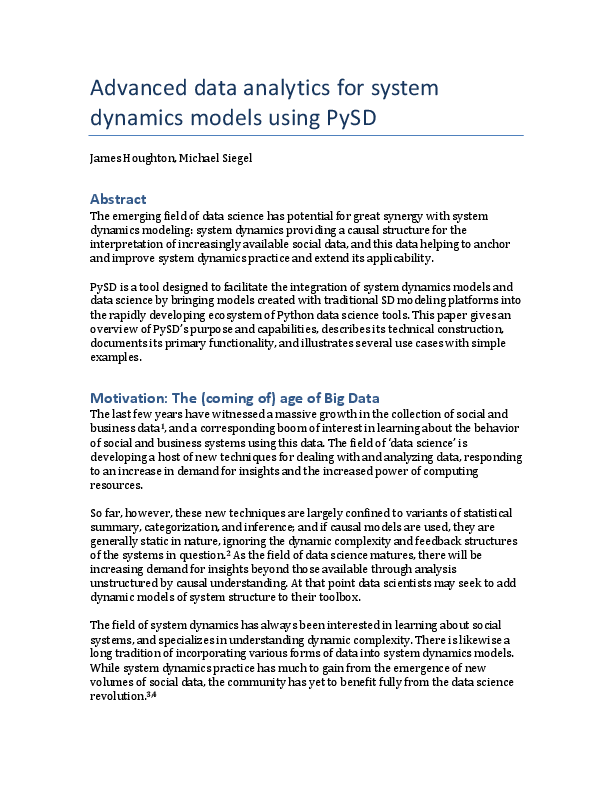 PDF) Advanced data analytics for system dynamics models using PySD