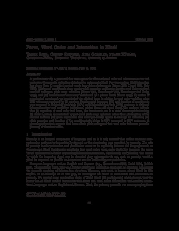 PDF) Focus, Word Order and Intonation in Hindi | Frank