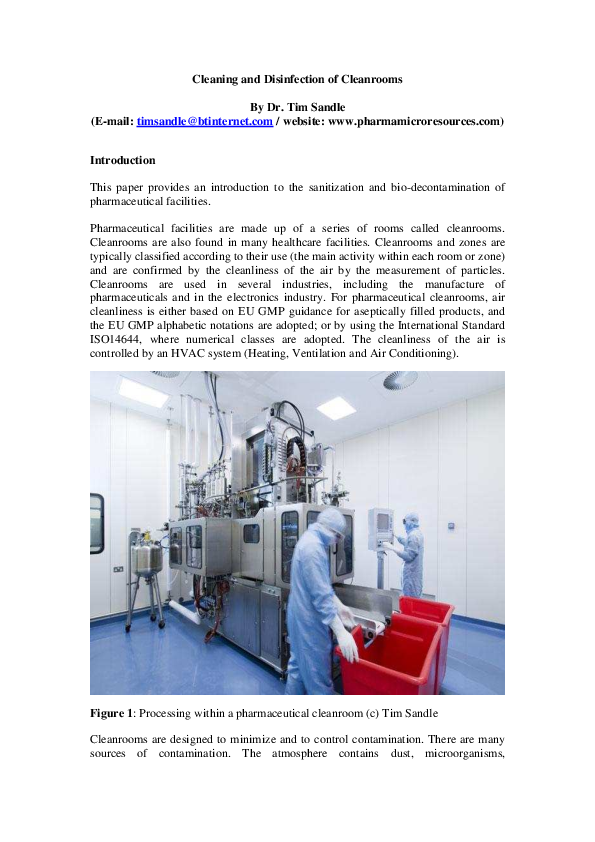 the cdc h andbook a guide to cleaning and disinfecting clean rooms s andle dr tim