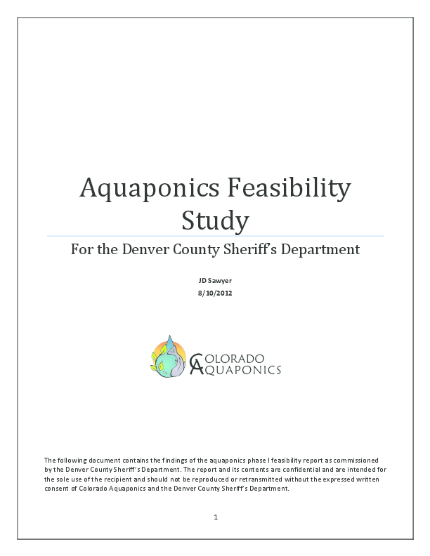 PDF) Aquaponics Feasibility Study For the Denver County
